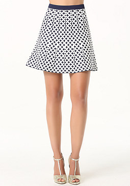 bebe Jacquard Flared Skirt