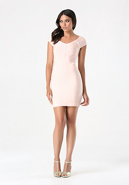 bebe Off Shoulder Bandage Dress