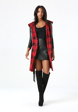 bebe Plaid Sweater Coat
