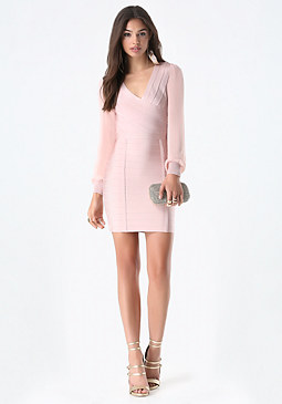 bebe Sheer Sleeve Bandage Dress