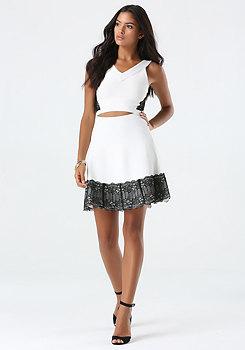 bebe Lace Hem Sweater Skirt