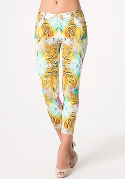 bebe Majesty Print Crop Pants
