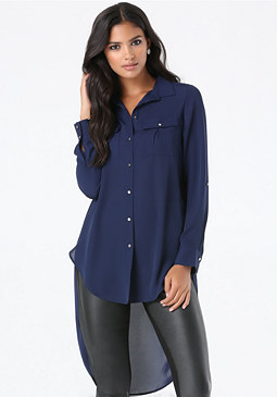 bebe Solid Patch Pocket Tunic