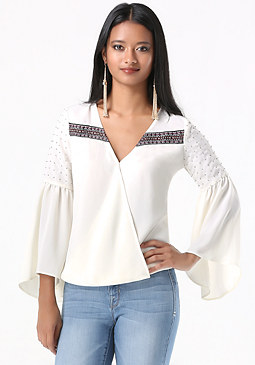 bebe Trumpet Sleeve Surplice Top