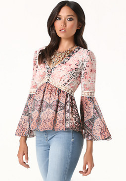 bebe Lace Detail Empire Blouse
