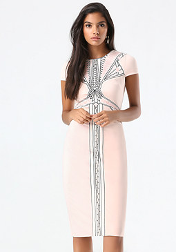 bebe Embroidered Midi Dress