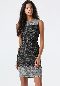 bebe Lace Contrast Midi Dress