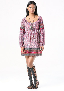 bebe Embroidered Trim Dress
