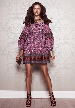 bebe Embroidered Trim Dress