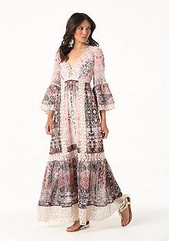 bebe Print Lace Trim Maxi Dress