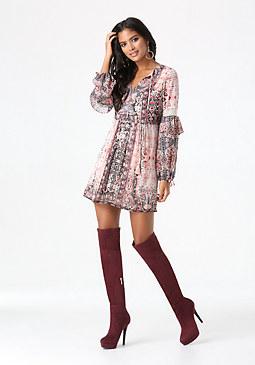 bebe Print Ruffle Dress