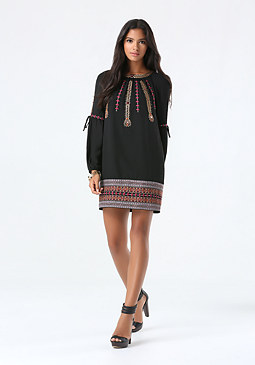 bebe Embroidered Shift Dress