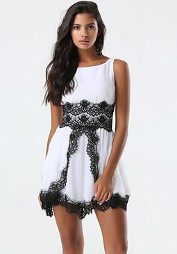 bebe Lace Trim Tulip Skirt Dress