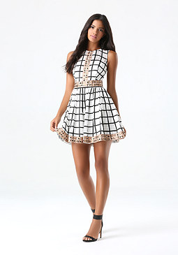 bebe Embroidered Checked Dress
