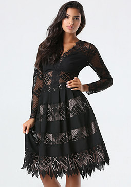 bebe Geometric Lace Midi Dress