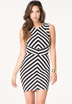 bebe Angled Stripe Midi Dress