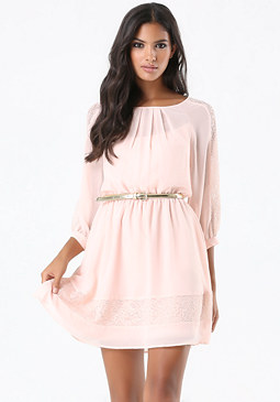 bebe Lace Trim Georgette Dress