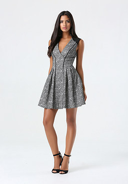bebe Floral Jacquard Pleat Dress