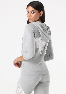 bebe Logo Crochet Inset Hoodie