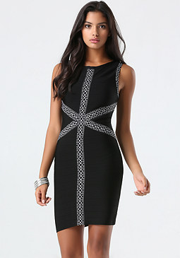 bebe Jacquard Trim Bandage Dress