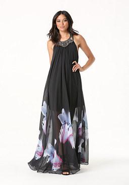 bebe Print Halter Gown