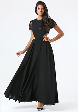 bebe Lace Back Cutout Gown