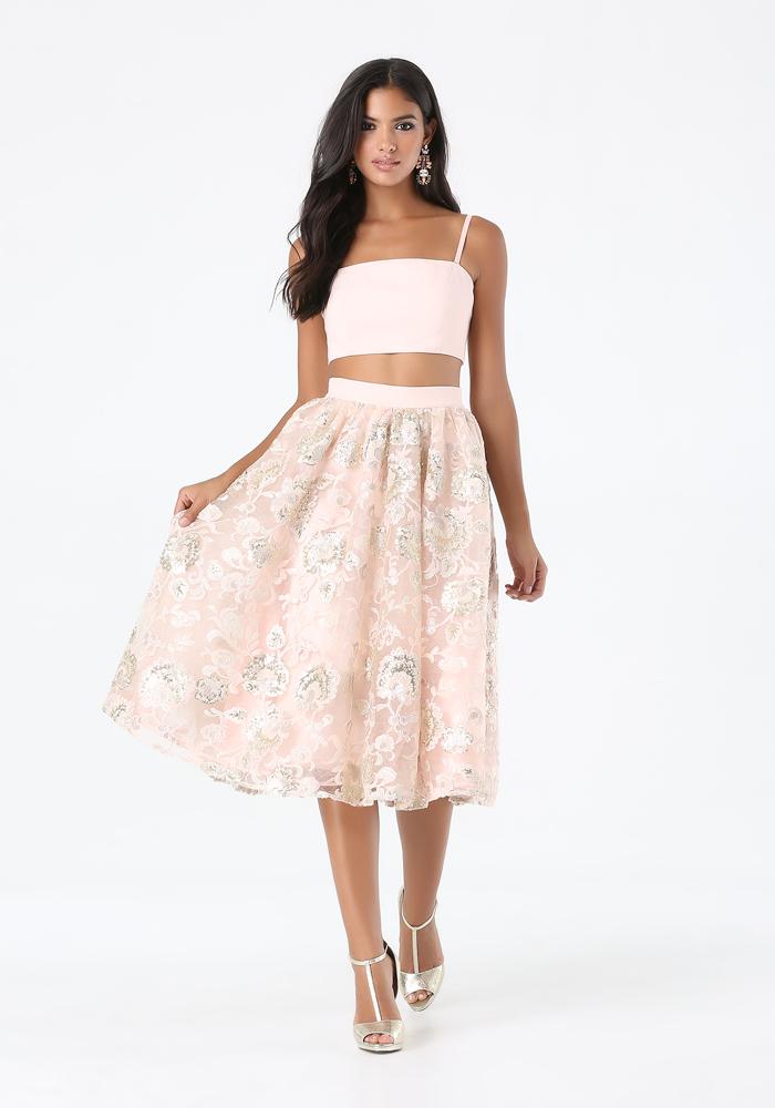 2-Piece Sequin Skirt Dress | bebe