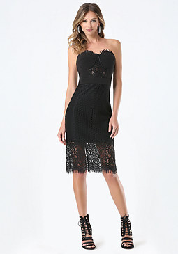 bebe Lace Strapless Midi Dress