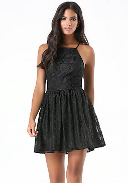 bebe Embroidered Grid Mesh Dress
