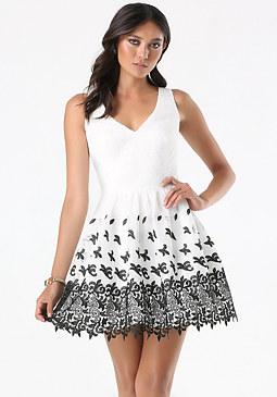 bebe Fleur de Lis Lace Dress