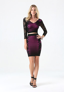 bebe Outline Lace Skirt