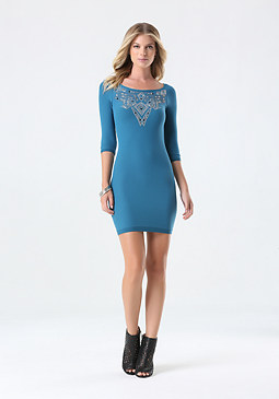 bebe Embellished Front Dress
