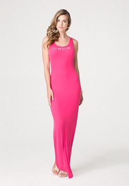 bebe Petite Lace Back Maxi Dress