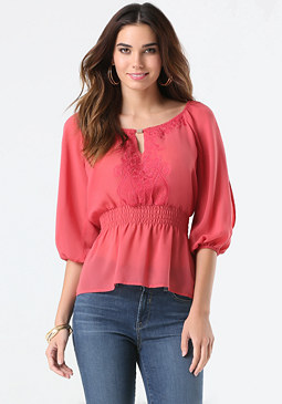 bebe Taryn Embroidered Top