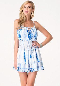 bebe Print Smock Waist Dress