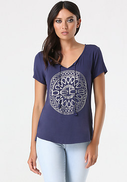 bebe Logo Medallion Scoop Tee