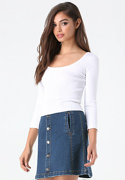 bebe Ribbed Scoopneck Sweater