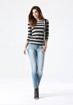 bebe Logo Mix Stripe Top