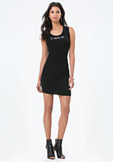 bebe Logo Back Cutout Dress