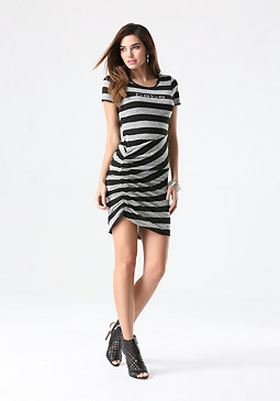 bebe Logo Striped Sweater Dress