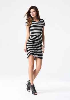 bebe Logo Striped Sweater Dress