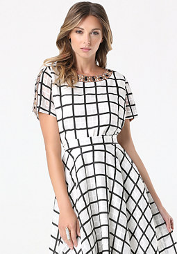 bebe Windowpane Structured Top