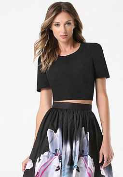 bebe Structured Taffeta Top