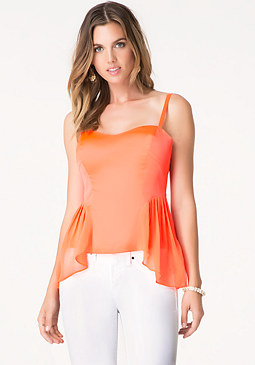 bebe Chiffon Side Overlay Top