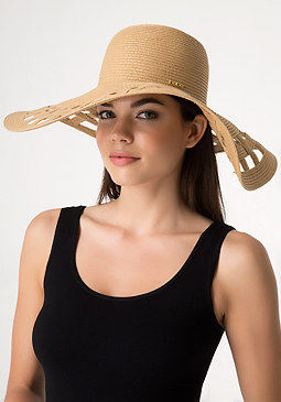 bebe Open Weave Brim Floppy Hat