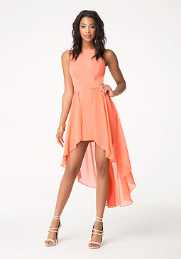 bebe Chiffon Ottoman Hi-Lo Dress
