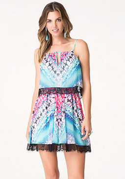 bebe Print Lace Trim Dress