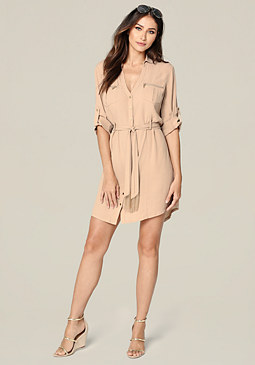 bebe Utility Pocket Shirtdress
