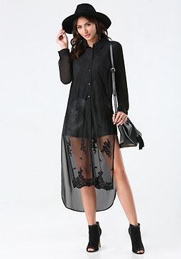 bebe Long Lace Blouse