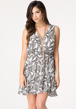 bebe Burnout Surplice Dress